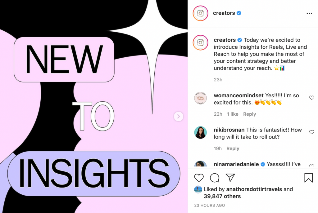 Instagram Introduces Insights for Reels, Live, and Reach